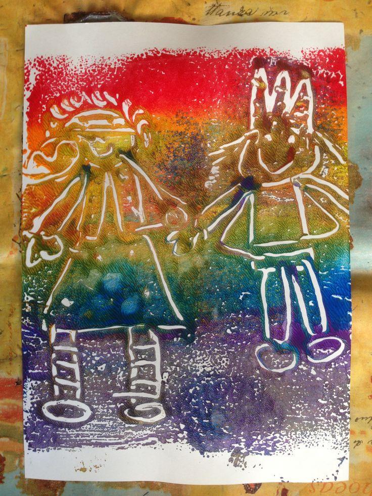 Regenboog-afdruk Eefje Donkerblauw en Koning Goudgeel