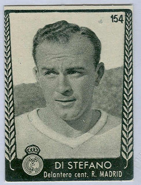 Sports Card Forum - Top 50 Football Cards (Mostly Vintage) : #15. 1953 Turmo Alfredo Di Stéfano. Real Madrid's second leading scorer of all-time, Di Stéfano led the team to five consecutive European Champions League victories beginning in 1956. It is no wonder that he is consistently listed on experts' Top 10 all-time lists. The only achievement missing from Di Stéfano's resume is World Cup play, unfortunately Argentina did not participate in the World Cup during his prime. This card is…
