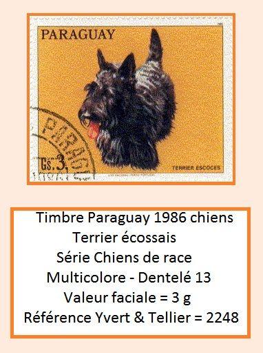Timbre Paraguay 1986 chiens Terrier écossais ====================== Image => http://wamiz.com/chiens/scottish-terrier-276 ====================== Série => https://fr.pinterest.com/pin/121526889922342552/  ======================  Cotation.2009.=.0,50 € ====================== Gaby Féerie  http://www.alittlemarket.com/boutique/gaby_feerie-132444.html