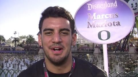 At the Disney California Adventure Park, Mariota talked about his experiences at the Rose Bowl — playing in youth soccer tournaments and being with the team in 2012, when the Darron Thomas-led Ducks beat Wisconsin 45-38.  12/27/2014