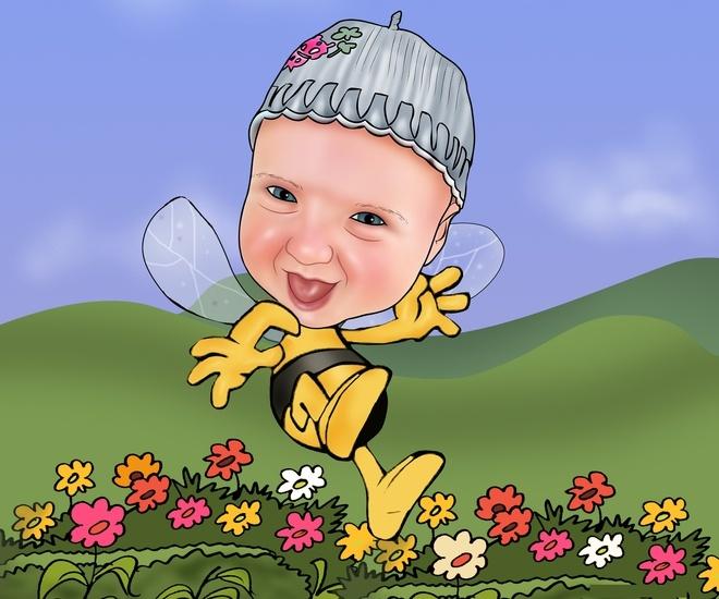 Karikatuur van uw eigen foto. Een fantastisch leuke foto-karikatuur, waarin je als maja de bij van bloem naar bloem vliegt. -