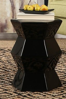 Candem Black Ceramic Garden Stool