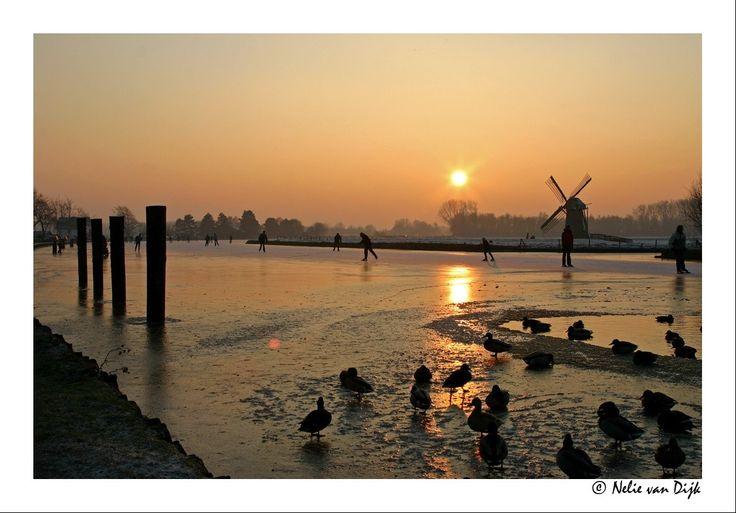 Schaatsen op de Vliet. The Netherlands