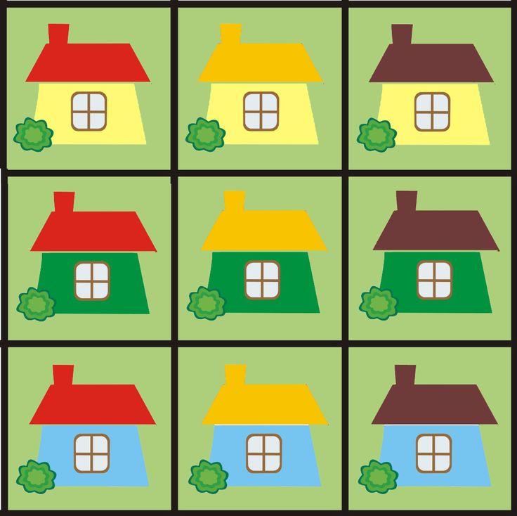 Matrix 2 thema huizen voor kleuters, free printable