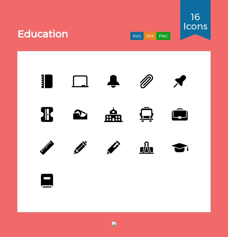 Education  Icon Pack – 16 Glyph Icons