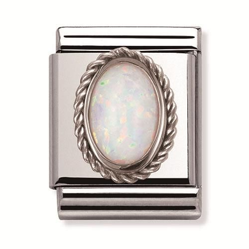 Nomination Composable Big stainless steel and silver white opal colour stone charm. This charm will make a stunning addition to your bracelet.