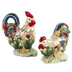 Rooster and Hen Salt and Pepper Shakers:
