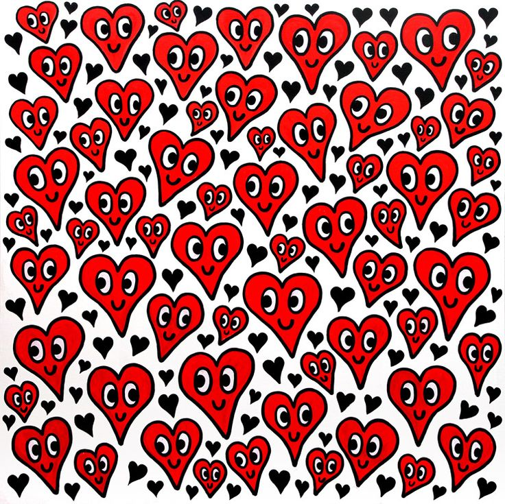 Happy Hearts (red), 159.5x159cm, Acrylic on Canvas, 2014  Charles Jang