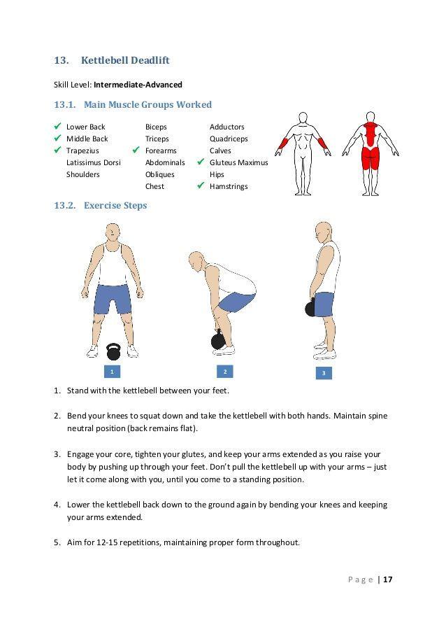 13.  Kettlebell Deadlift  Skill Level: Intermediate-Advanced  13.1. Main Muscle Groups Worked  Lower Back  Middle Back ... https://www.kettlebellmaniac.com/kettlebell-exercises/