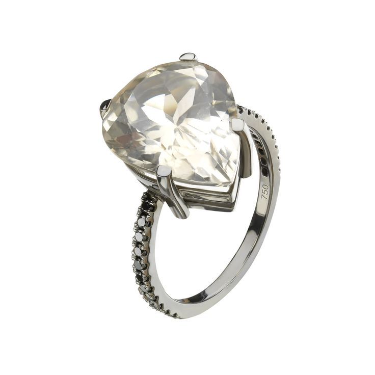 champagne topaz and black diamond gold ring. www.lilikoos.com