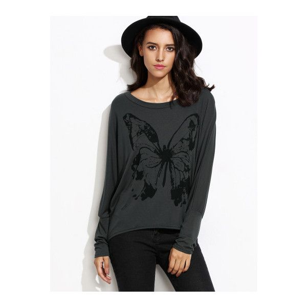 SheIn(sheinside) Butterfly Print Batwing Sleeve High Low T-shirt (42 BRL) ❤ liked on Polyvore featuring tops, t-shirts, grey, long sleeve grey t shirt, batwing sleeve tops, grey t shirt, long sleeve stretch t shirt and butterfly t shirt