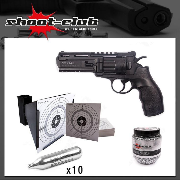 CO2 Revolver UX Tornado- shoot-club Sparset - inkl. Kugelfang, Zielscheiben, CO2 Kapsel, Stahlkugeln -