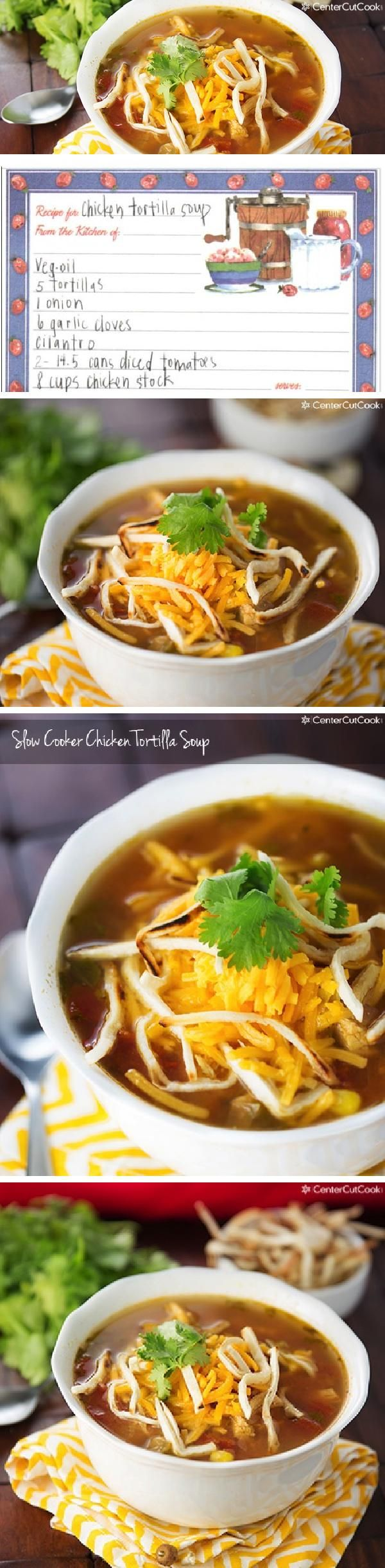 Super easy SLOW COOKER CHICKEN TORTILLA SOUP garnished with crispy tortilla strips and fresh sharp cheddar cheese.