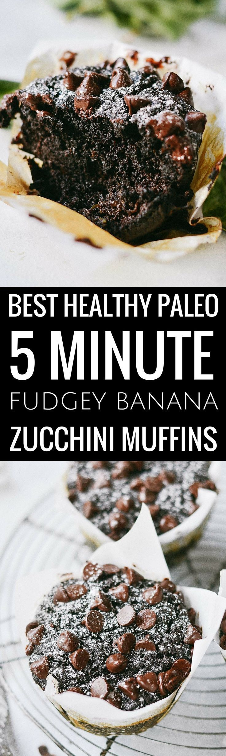 Best healthy flourless fudgey banana zucchini muffins. Made in minutes, these easy gluten free breakfast muffins are extra big bakery style adn loaded with decadent chocolate and healthy greens. Best gluten free breakfast recipes. Easy paleo diet recipes