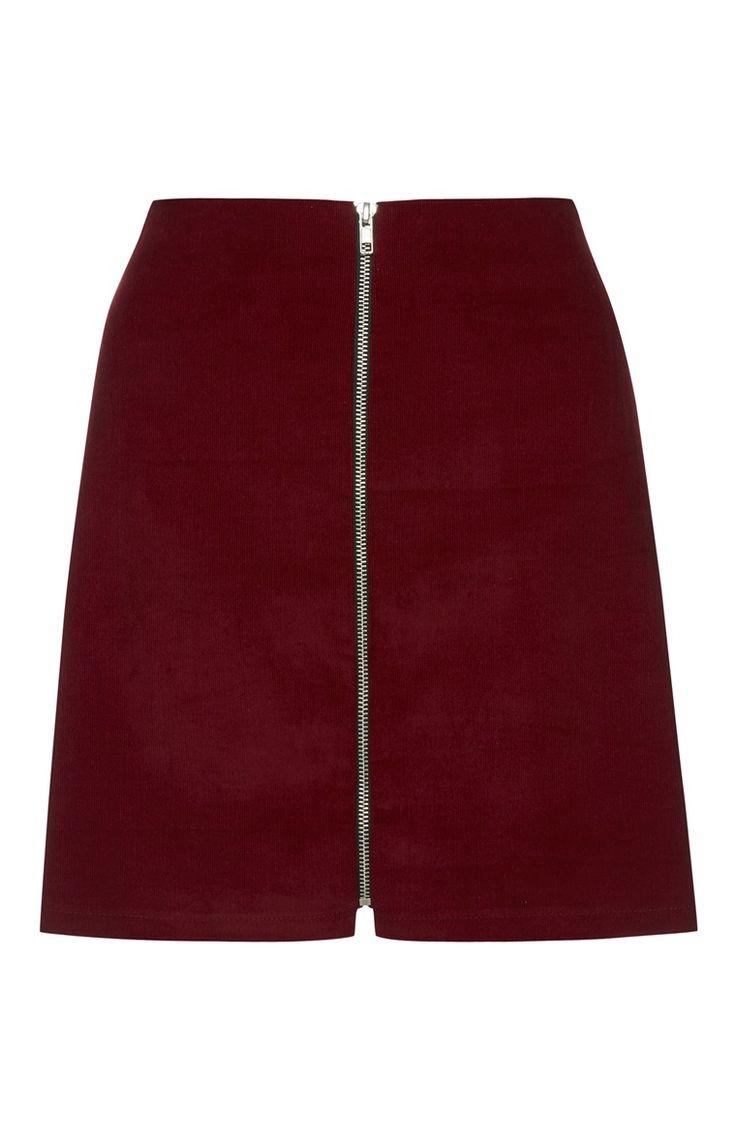 Red Zip Through Baby Cord Skirt