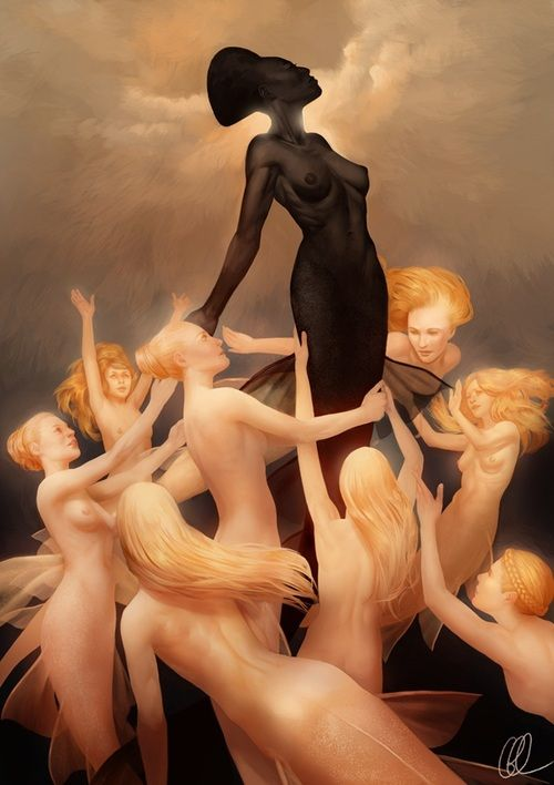 "An amazing illustration of a gorgeous, graceful, beautiful Black mermaid standing tall, looking regal ..she reminds me of the amazingly beautiful Grace Jones! The image is ""Hieraconism 3"" by Gerwell on DeviantArt."
