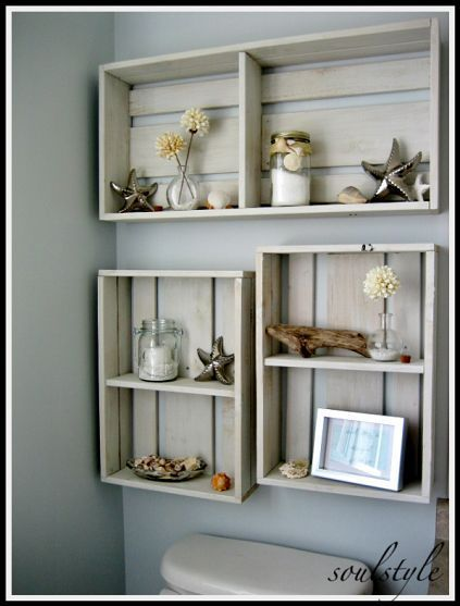 storage crates as display boxes. . .  cute for a cottage at the beach.