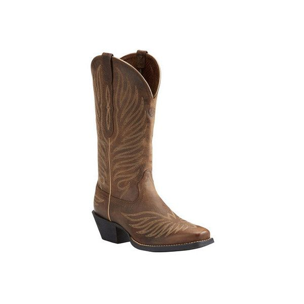 Women's Ariat Round Up Phoenix Cowgirl Boot ($160) ❤ liked on Polyvore featuring shoes, boots, casual, riding boots, leather knee high boots, leather cowboy boots, western cowboy boots, mid calf boots and cowgirl boots