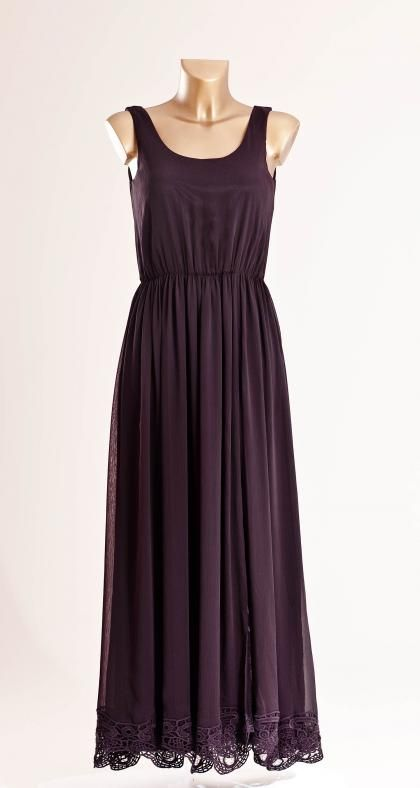 High slit lace dress - Plum L