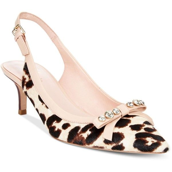 kate spade new york Palina Animal-Print Slingback Pumps ($65) ❤ liked on Polyvore featuring shoes, pumps, animal print shoes, pointy toe shoes, pointy-toe pumps, animal print pumps and kate spade shoes