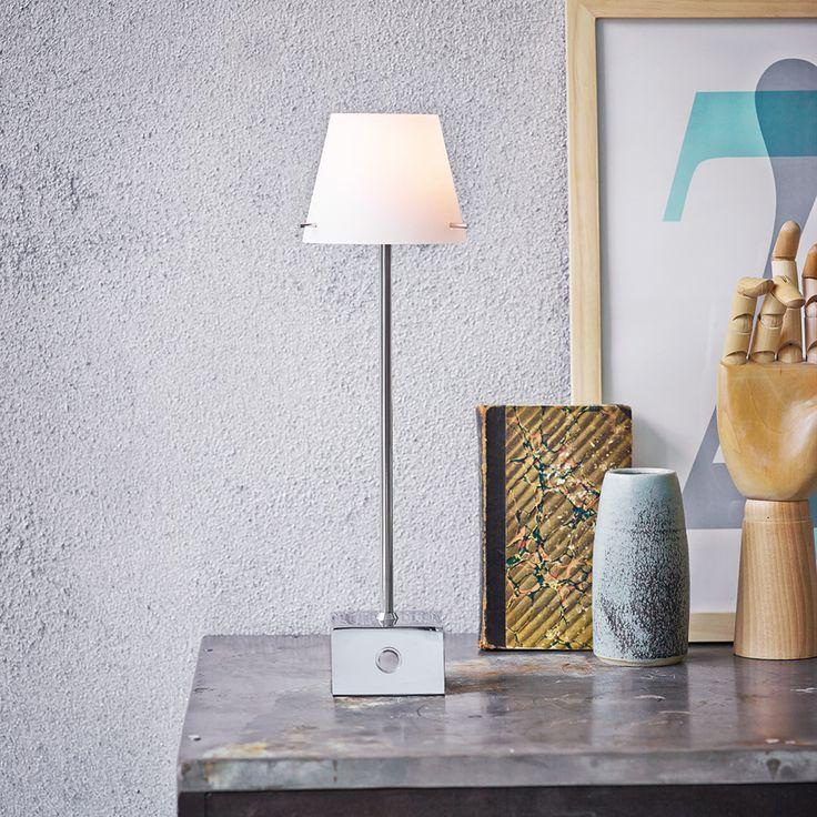 Gil Table Lamp, Chromium/White, Herstal