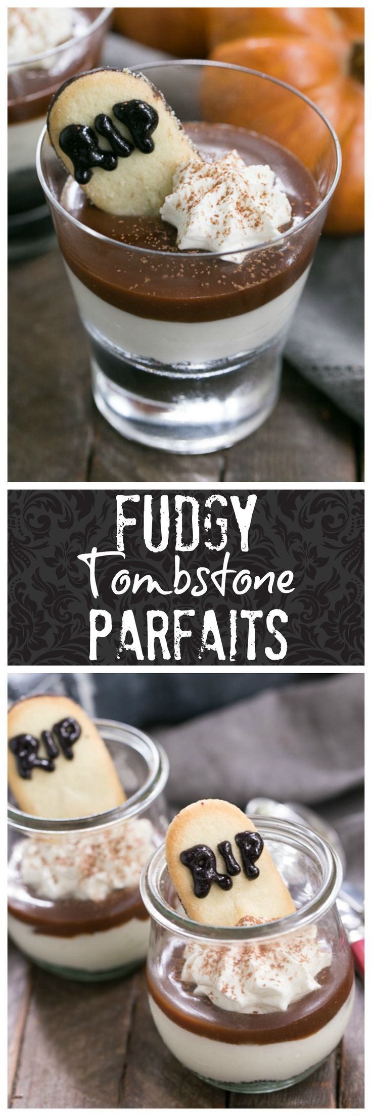 Fudgy Tombstone Parfaits | Luscious layers of Oreo crumbs, cheesecake filling and fudge sauce make with a tombstone cookie make for a terrific Halloween dessert! @lizzydo