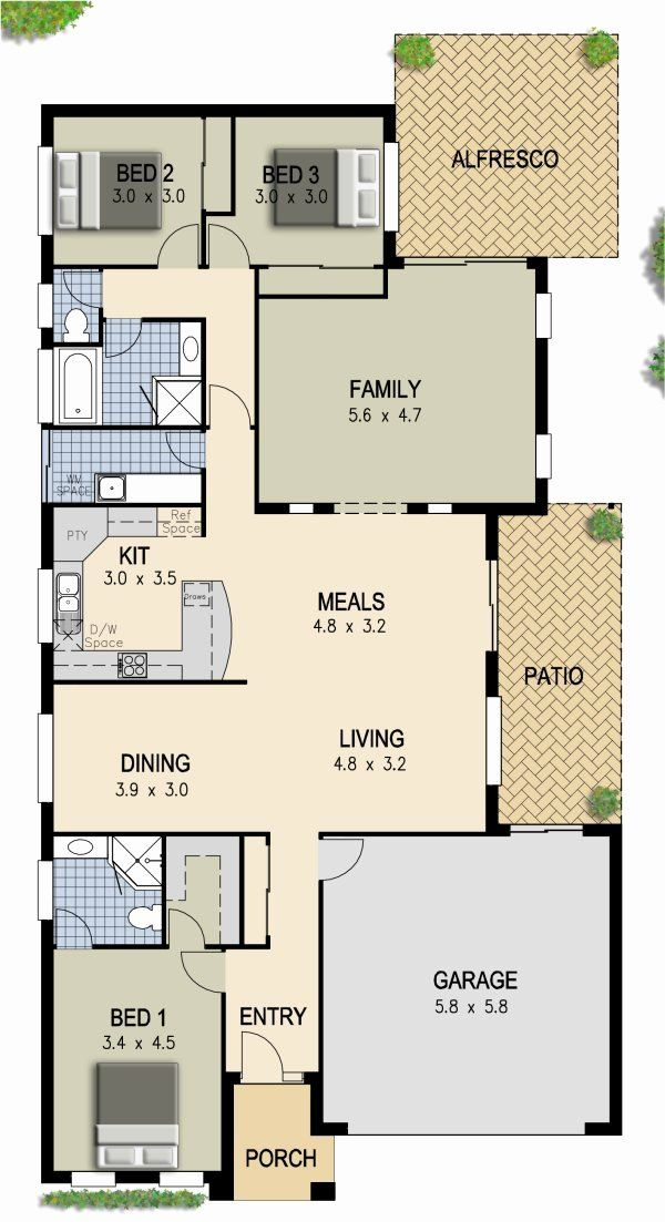 2 Bedroom Home Designs Australia Luxury 3 Bedroom House Plan 288kr Oxen Double Garage Pool House Plans House Plans Australia House Plans