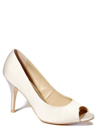 Champagne Occasion Satin Peep Toe Court Shoe