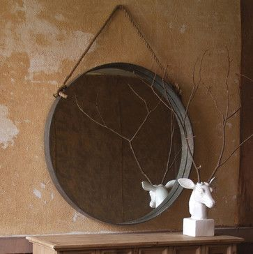 DIY both: Large Round Mirror with Rope, White deer statue with branch antlers