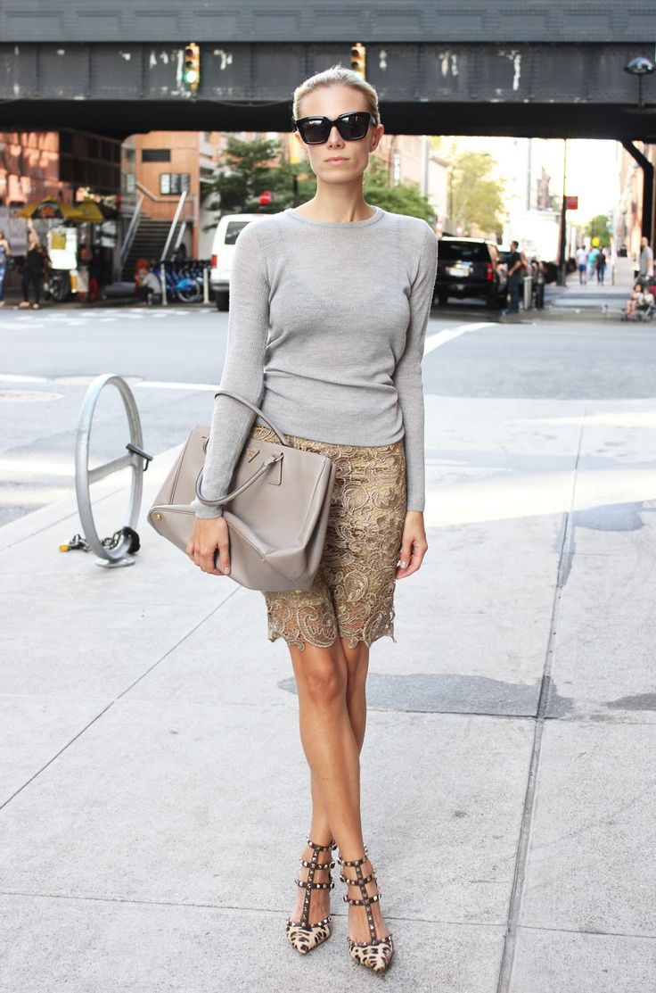 Exciting neutrals with a classic tote, lace skirt and Valentino rockstud leopard pumps. www.topshelfclothes.com