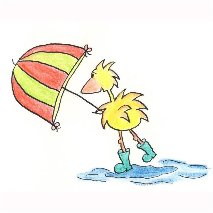 gele vogel met paraplu   Made By Ellencards