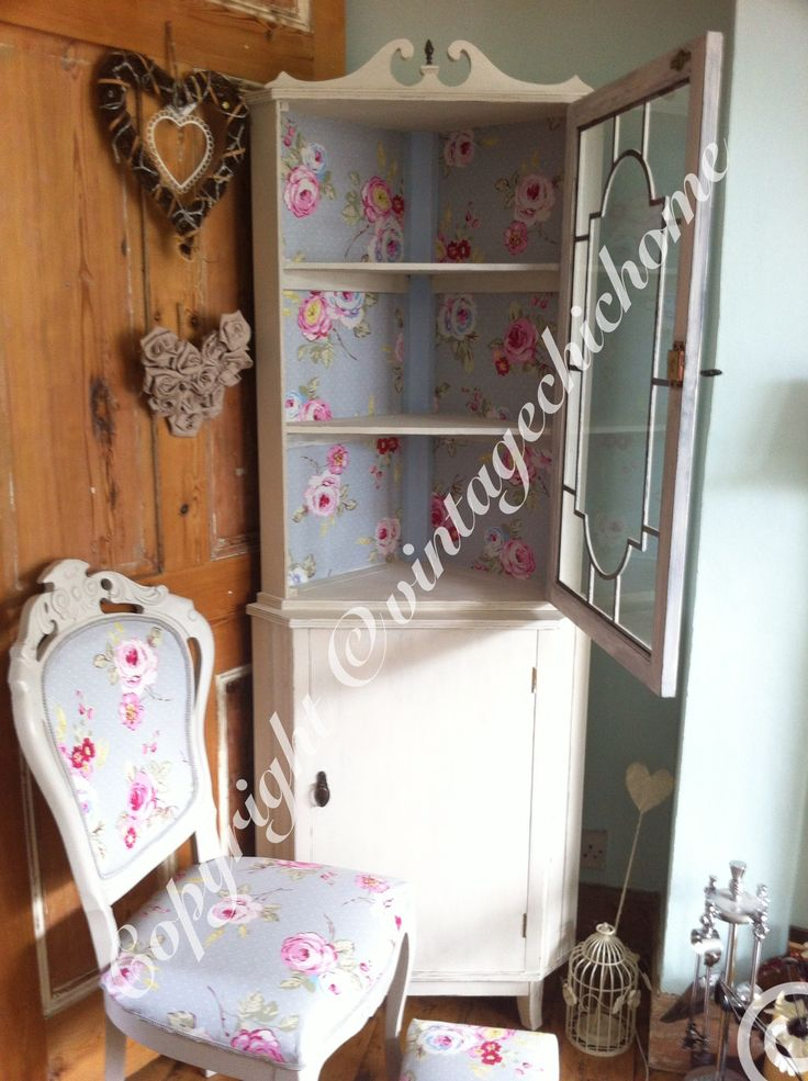 Country cath Kidston style shabby chic corner unit , chair & foot stool  Www.facebook.com/VintageChicHomeShabbyChicFurniture  Www.vintagechichome.co.uk