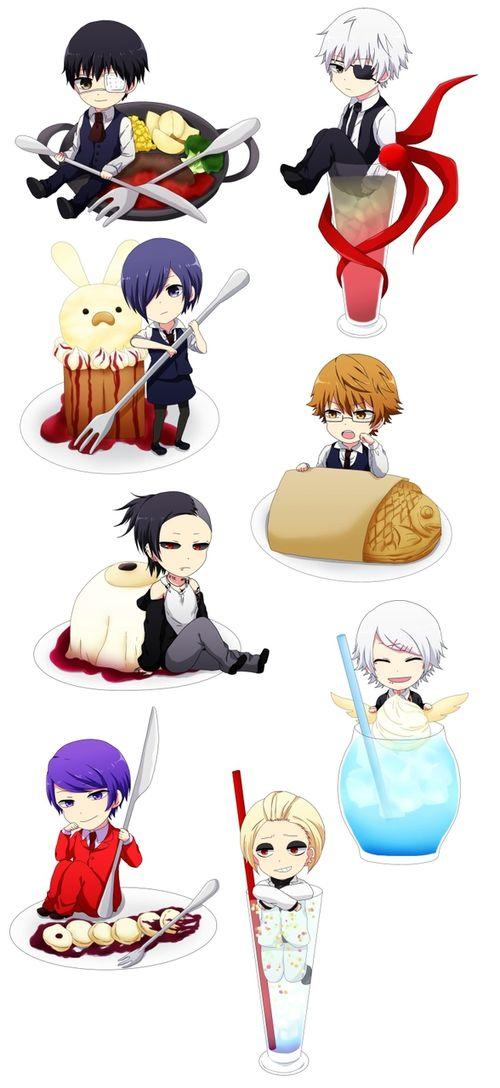 Kaneki, Touka, Nishiki, Uta, Suzuya, Tsukiyama, and Naki ||| Tokyo Ghoul Fan Art