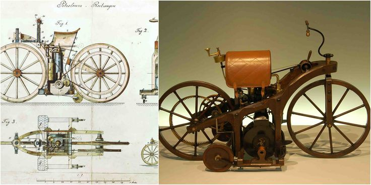 """The Daimler Reitwagen (""""riding wagon"""") or Einspur (""""single track"""") was a motor vehicle made by Gottlieb Daimler and Wilhelm Maybach in 1885and is widely r"""