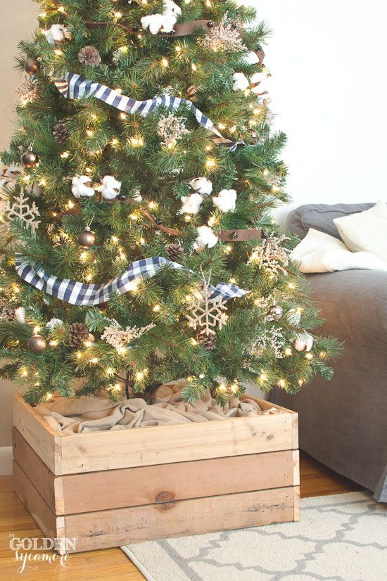 Easy DIY Christmas tree stand box made from repurposed 2x4s