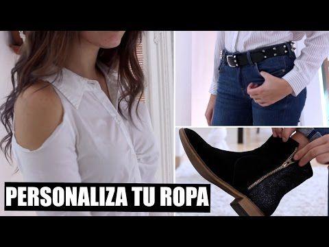 DIY-RECICLA TU ROPA VIEJA (jeans bordados, camisa con olanes y blusa off the shoulder) - YouTube