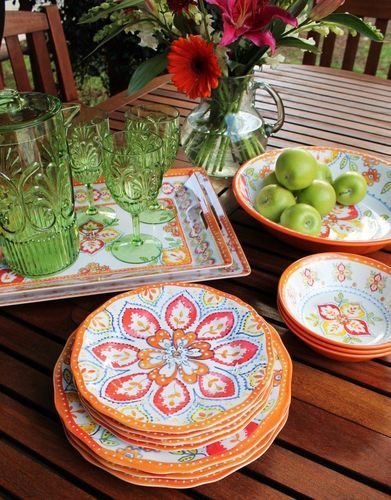 Le Cadeaux Orange Blossom Melamine Dinnerware // I LOVE these fun bright dishes! & 34 best Dishes images on Pinterest | Dinnerware Dishes and Melamine ...