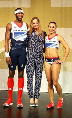 Stella McCartney designer of the Olympic Team GB's sportswear with triple-jumper Phillips Idowu and heptathlete Jessica Ennis.