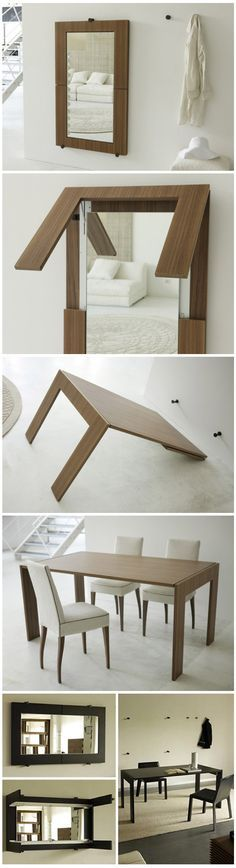 mirror / table conversion Muebles que se modifican:que surtende la maleta- Maleta que es fa moble