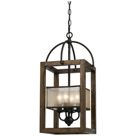 """Harper Wood 12"""" Wide Iron Pendant Chandelier  For the entry way"""