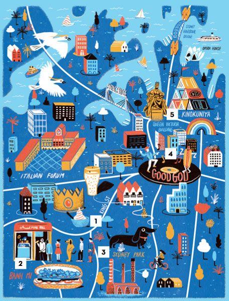 Places map of Sydney (Australia) by illustrator Daniel Gray