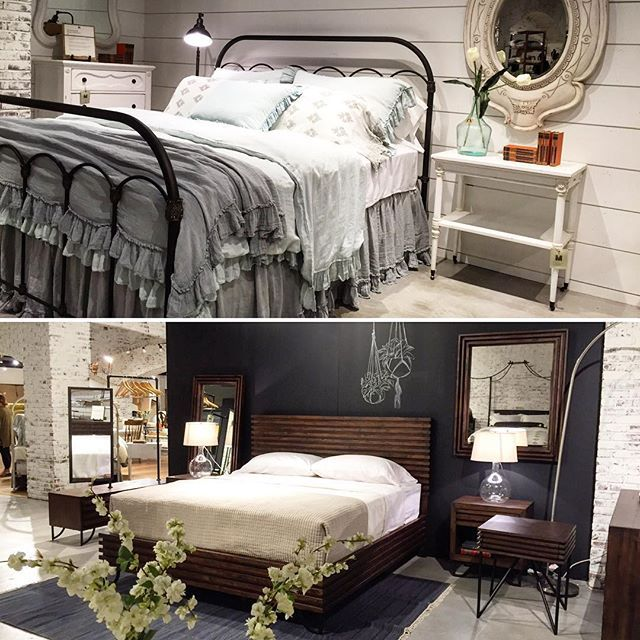 One of my favorite beds from the Magnolia Home line on the top, and below is Chip's favorite  #oppositesattract #magnoliahomefurniture