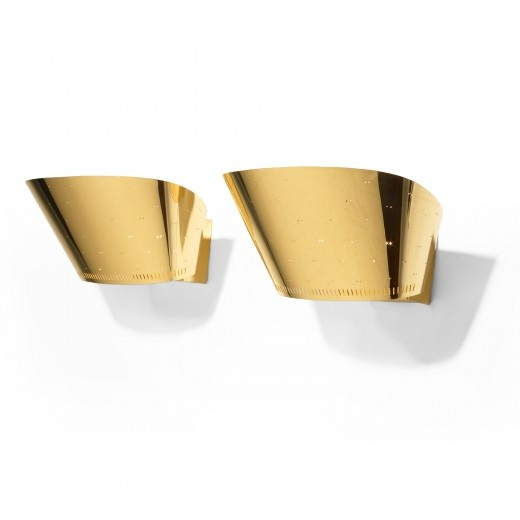 Paavo Tynell, #9466 Brass and Frosted Glass Sconces for Taito Oy, 1950.