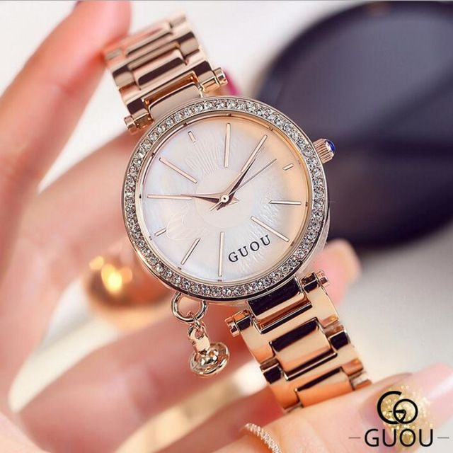 Guou Brand Diamond Wrist Watches Fashion Pendant Watch Women Luxury Rose Gold Full Steel Clock Relogio Feminino Bayan Saat Aliexpress Aliexpre Jam Tangan Wanita
