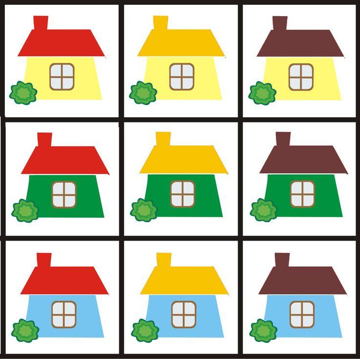 Matrix 3 thema huizen voor kleuters, free printable