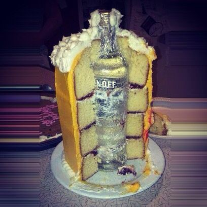 Hidden liquor bottle in beer jug shaped cake