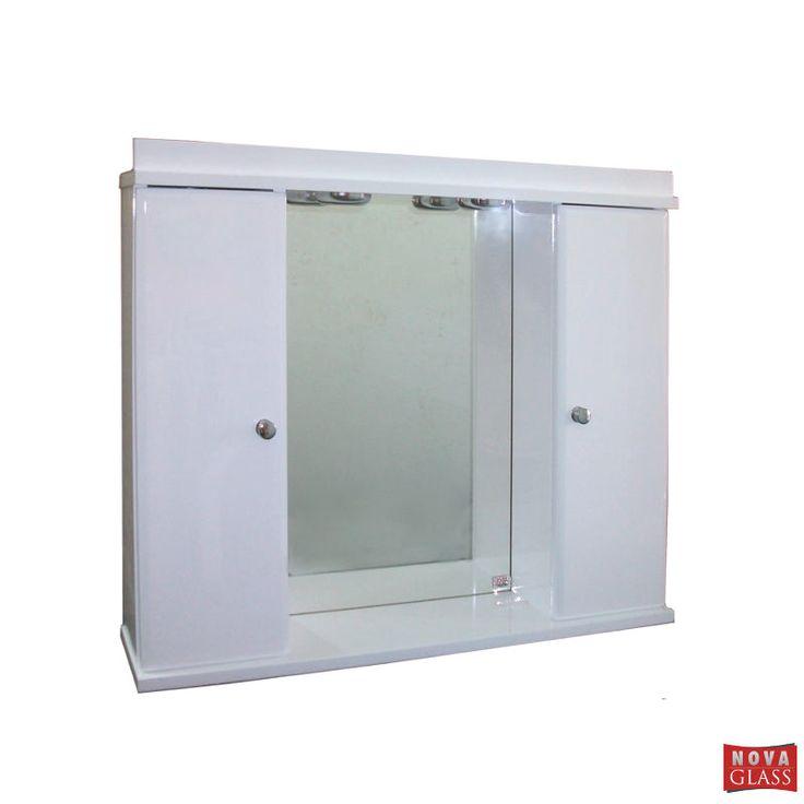 Ντουλάπι μπάνιου λευκό λακαριστό με φωτιστικά Νο 152
