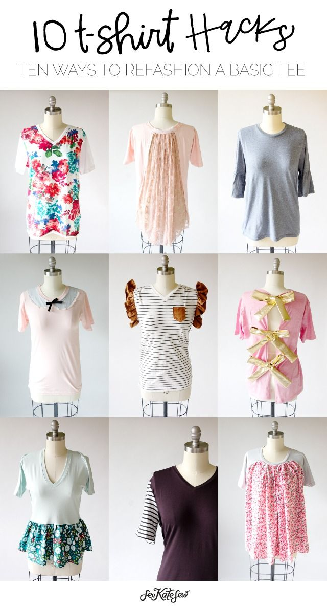 Update your wardrobe in no time! Learn 10 easy ways to refashion a basic tee with the following tutorial from See Kate Sew. Whether it's decorating with lace, or adding a fun pattern or neckline like a vneck, you'll have a new wardrobe with these 10 ideas.