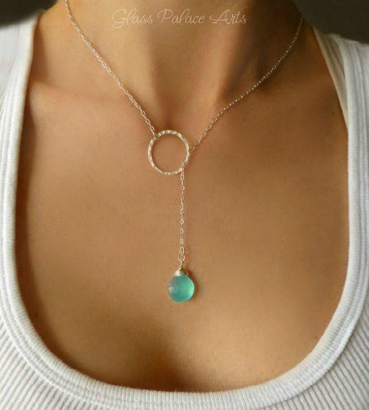 Silver Lariat Necklace - Aqua Chalcedony Gemstone Necklace