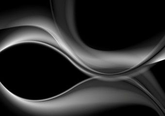 Dark abstract monochrome smooth waves background